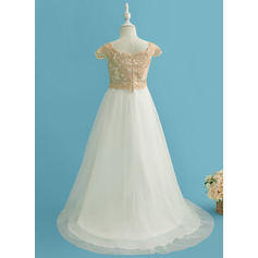 A-Line Sweep Train Flower Girl Dress - Tulle/Lace Short Sleeves Scoop Neck (010225327)