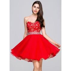 Vestidos princesa/ Formato A Coração Curto/Mini De chiffon Renda Vestido de boas vindas com Bordado Lantejoulas