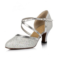 Women's Sparkling Glitter Heels Pumps Ballroom Dance Shoes