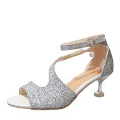 Frauen Funkelnde Glitzer Stöckel Absatz Sandalen Absatzschuhe mit Pailletten Schuhe