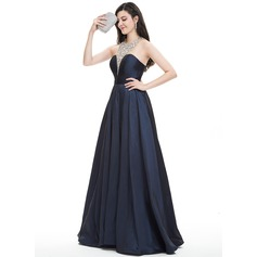 Ball-Gown Halter Floor-Length Taffeta Prom Dress With Beading Sequins (018105562)