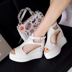 Vrouwen Kunstleer Wedge Heel Sandalen met Rits Hol-out schoenen