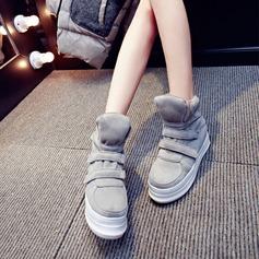 Kvinnor Mocka Kilklack Kilar Stövlar Halva Vaden Stövlar med Kardborre skor
