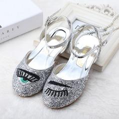 Fille de Bout fermé Glitter mousseux Low Heel Chaussures plates Chaussures de fille de fleur