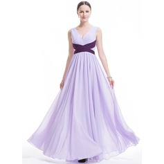 Vestidos princesa/ Formato A Decote V Longos tecido de seda Vestido de festa com Pregueado Cintos