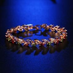 Lysande Mässing med Zirkon Damer' Mode Armband