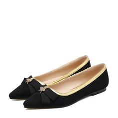 Женщины PU Плоский каблук На плокой подошве Закрытый мыс с бантом обувь