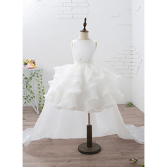 Empire Knee-length/Court Train Flower Girl Dress - Organza/Satin Sleeveless Jewel With Ruffles/Beading/Appliques
