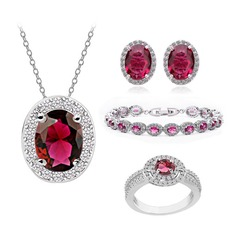 Exquisite Copper/Zircon/Platinum Plated Ladies' Jewelry Sets