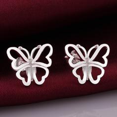 Em forma de borboleta Prateado Cobre Senhoras Moda Brincos