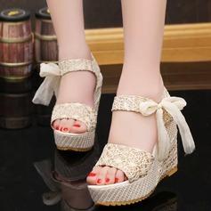 Kvinnor Kilklack Sandaler Kilar Peep Toe Slingbacks med Bowknot Smycken Heel skor