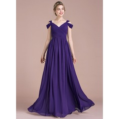 A-Line/Princess V-neck Floor-Length Chiffon Evening Dress With Ruffle (017116483)
