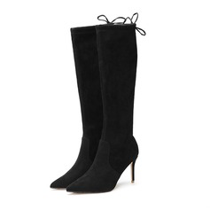Women's Suede Stiletto Heel Pumps Closed Toe Knee High Boots With Lace-up shoes