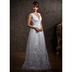 Forme Princesse Col V Longueur ras du sol Tulle Robe de mariée avec Dentelle