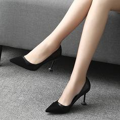 Frauen PU Spule Absatz Absatzschuhe Geschlossene Zehe mit Zweiteiliger Stoff Schuhe