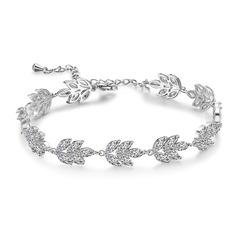 Dames Feuilles en forme Cuivre/Zircon de Bracelets