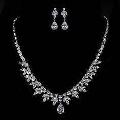 Leaves Shaped Zircon/Platinum Plated Ladies' Jewelry Sets