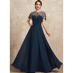 A-Line Scoop Neck Floor-Length Chiffon Mother of the Bride Dress With Ruffle Beading Sequins (008225550)