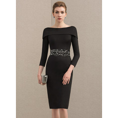 Sheath/Column Off-the-Shoulder Knee-Length Jersey Cocktail Dress With Beading Sequins (016174156)