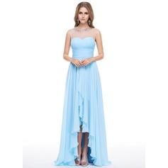 Império Decote redondo Assimétrico Tecido de seda Vestido de festa com Beading lantejoulas Babados em cascata