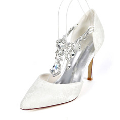 Women's Lace Stiletto Heel Pumps With Rhinestone