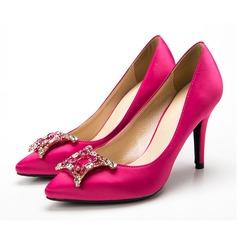 Femmes Soie Talon stiletto Escarpins avec Cristal chaussures