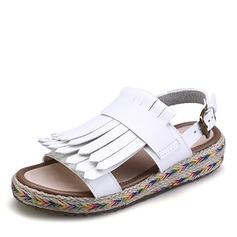 Kvinnor Microfiber läder Sandaler Platta Skor / Fritidsskor Peep Toe skor
