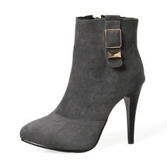 Frauen Veloursleder Stöckel Absatz Absatzschuhe Stiefel Stiefel-Wadenlang mit Schnalle Reißverschluss Schuhe