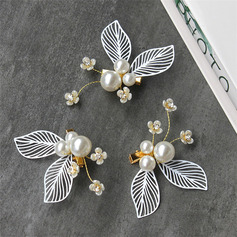 Romantic Alloy Combs & Barrettes With Venetian Pearl (Set of 3)