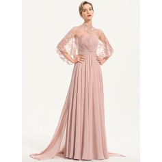A-Line High Neck Floor-Length Chiffon Evening Dress With Beading (017186156)