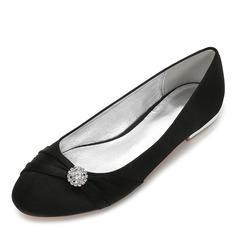 Kvinner silke som sateng Flat Hæl Lukket Tå Flate sko med Båndknute Crystal