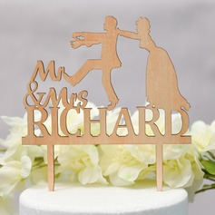 Personalizado Mr & Mrs Madera Decoración de tortas (Sold in a single piece)