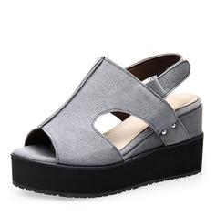 Frauen Veloursleder Keil Absatz Sandalen Absatzschuhe Keile Peep Toe mit Andere Schuhe