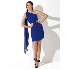 Sheath/Column One-Shoulder Short/Mini Chiffon Homecoming Dress With Ruffle