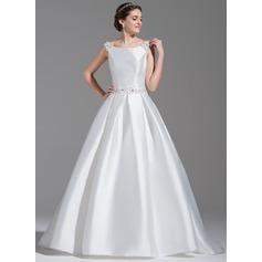 Платье для Балла Выкл-в-плечо Церемониальный шлейф Атлас Свадебные Платье с развальцовка блестки Бант(ы)