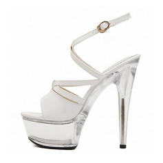 Women's Patent Leather Stiletto Heel Sandals Pumps Platform Peep Toe Slingbacks With Buckle shoes