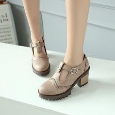 Naisten Keinonahasta Chunky heel Avokkaat Platform Suljettu toe jossa Solki kengät