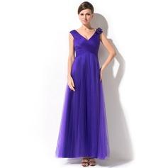 Трапеция/Принцесса V-образный Длина по щиколотку Тюль Платье Для Матери Невесты с Рябь Бисер Цветы