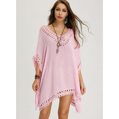 Solid Shift Short Sleeves Mini Boho Casual Vacation Tunic Dresses (294252046)