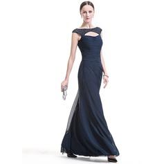 Sheath/Column Scoop Neck Floor-Length Chiffon Evening Dress With Ruffle Beading Sequins