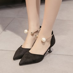 Women's Suede Spool Heel Pumps Closed Toe With Imitation Pearl shoes