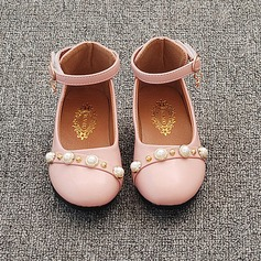 Girl's Round Toe Closed Toe Leatherette Flat Heel Flats Flower Girl Shoes