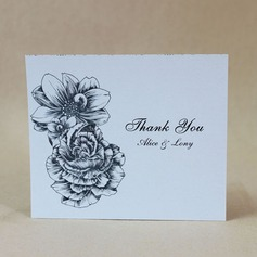 Personalized Lovely Rose Hard Card Paper Thank You Cards (Set of 50)