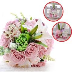 Lovely Redondo Cetim/PE/Strass/Pérola Imitação/Linho de seda Conjuntos de flores (conjunto de 3) - Buquê de pulso/Alfinete de lapela/Buquês de noiva