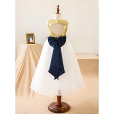 Forme Princesse Longueur mollet Robes à Fleurs pour Filles - Tulle/Pailleté Sans manches Col rond avec Paillettes/À ruban(s)/Trou noir
