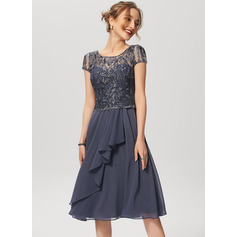 A-Line Scoop Neck Knee-Length Chiffon Lace Cocktail Dress With Cascading Ruffles (016230210)
