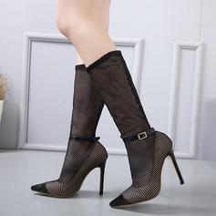 Mulheres Malha Salto agulha Bombas Botas Botas na panturrilha com Fivela sapatos