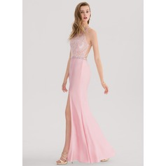 Trumpet/Mermaid Scoop Neck Floor-Length Jersey Prom Dress With Beading Split Front (018138336)