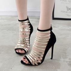 Frauen Wildleder Stöckel Absatz Sandalen Absatzschuhe Peep Toe mit Reißverschluss Hohl-out Zweiteiliger Stoff Schuhe