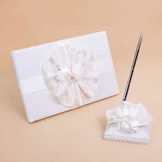 Flowers Design Sash/Feather Guestbook & Pen Set
